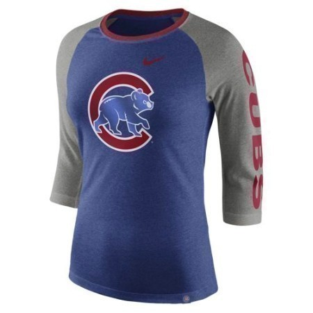 LADIES CUBS NIKE TRI-BLEND 3/4 RAGLAN Thumbnail