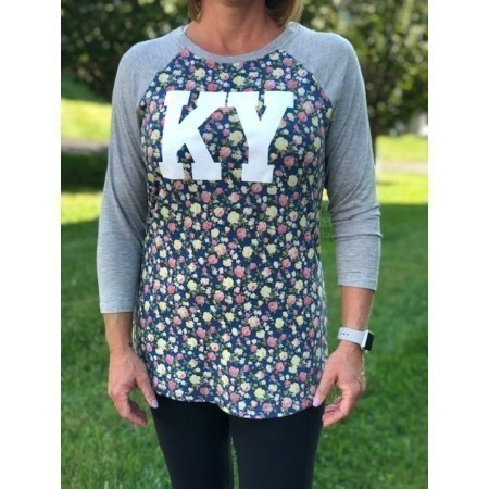 LADIES KENTUCKY FLORAL BODY TEE Thumbnail