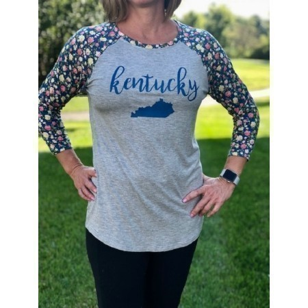 LADIES KENTUCKY FLORAL SLEEVE TEE Thumbnail