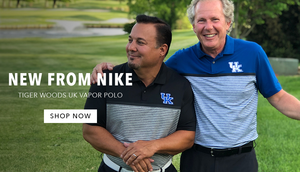 Take your team from the tee to the green in the latest Nike Kentucky Tiger Woods Vapor Stripe Polo.