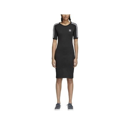 LADIES ADIDAS 3 STRIPE DRESS BLACK Thumbnail