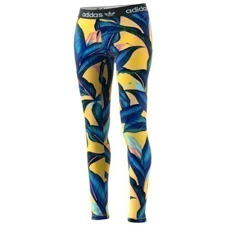 LADIES ADIDAS PALM PRINT TIGHT B/Y Thumbnail