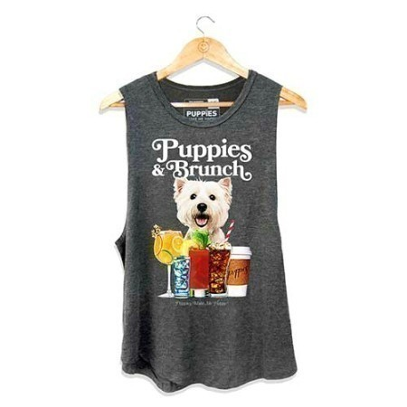 LADIES PUPPY AND BRUNCH TANK GREY Thumbnail