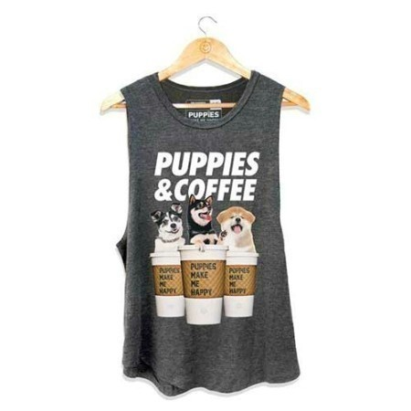 LADIES PUPPIES AND COFFEE TANK Thumbnail